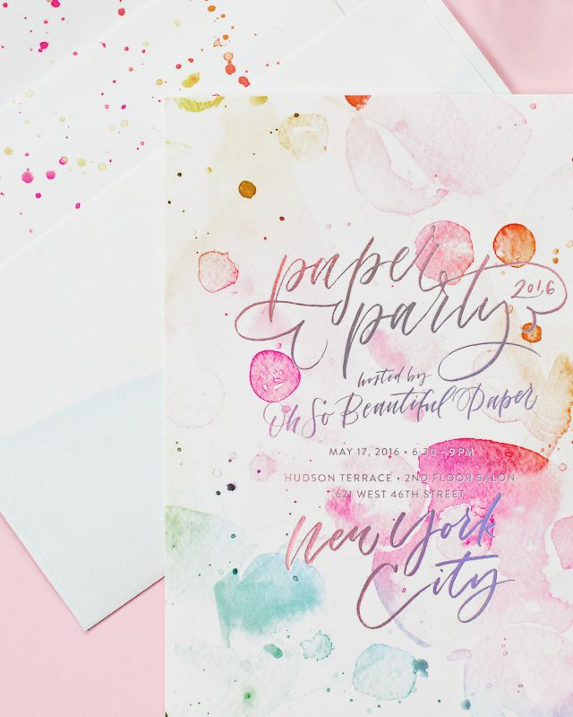 Paper Party 2016 Rainbow Watercolor and Hologram Foil Invitations