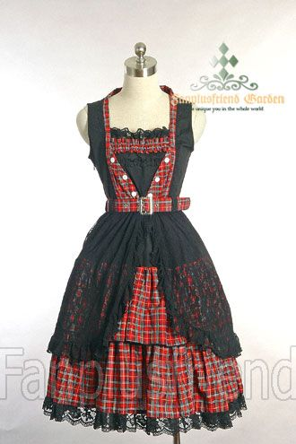4cff6d1819 +Gothic Lolita+ Street Casual Punk Lolita  Large Lace Shadow Double Frilled  Dress Price   59