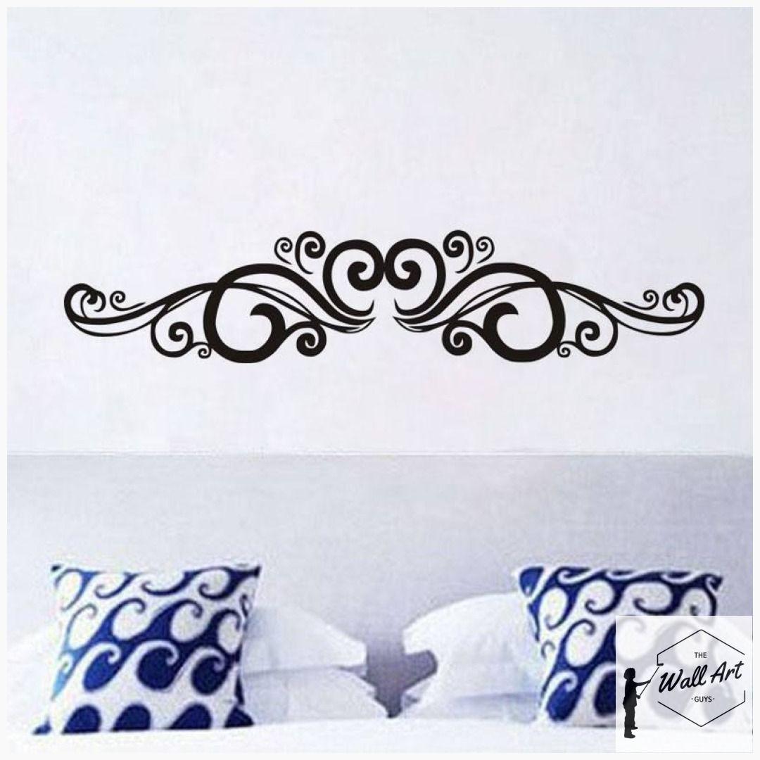 Symmetrical Swirls Headboard Wall Sticker Wall Stickers Bedroom Adhesive Wall Art Flower Wall Stickers