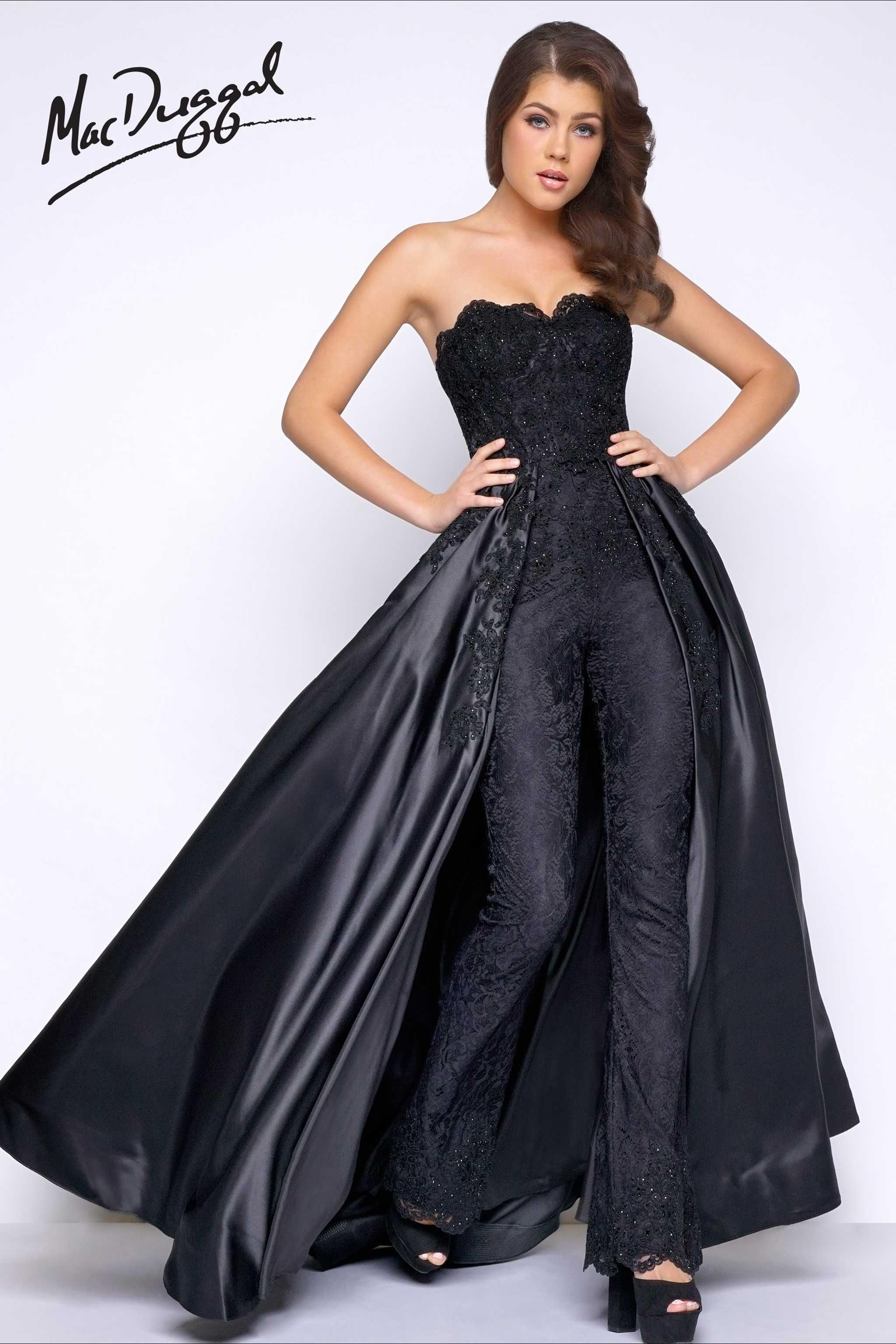 3b88c73e3d4 Black jumpsuit with mikado overskirt