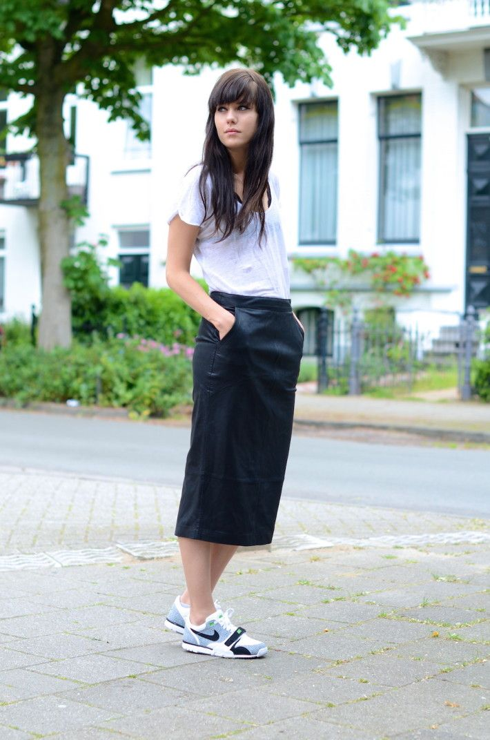 how to wear leather pencil skirt casual trainers | Come to mamma ...