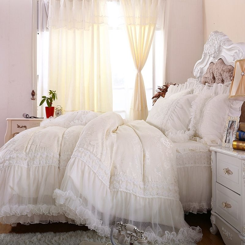 Luxury Bridal Style Victorian Lace Design Full Queen Size Bedding Sets White Bed Set Full Bedding Sets Luxury Bedding