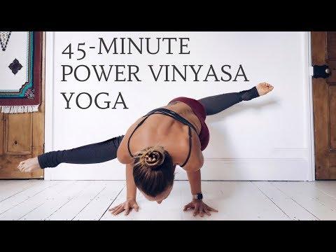 power vinyasa yoga flow  45minute yoga sequence  cat