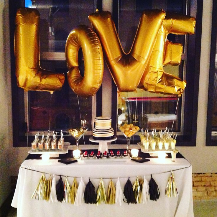 wedding shower candy buffet ideas%0A Drunk on love  stock the bar party dessert table  Black  white  and