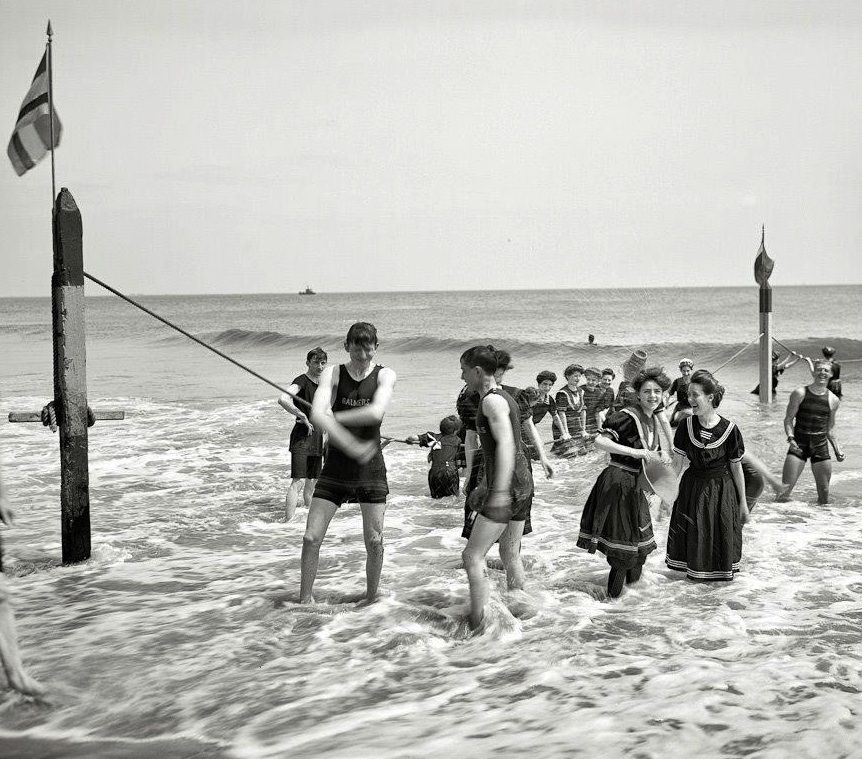 Gilded Age era in NY Bathing attire, at Coney Island