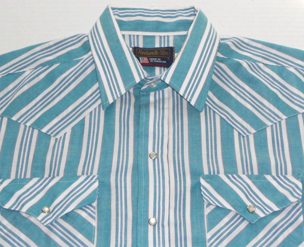 PANHANDLE SLIM Mens Teal Striped Pearl Snap Western Shirt size 17-34 Made in USA #PanhandleSlim #Western