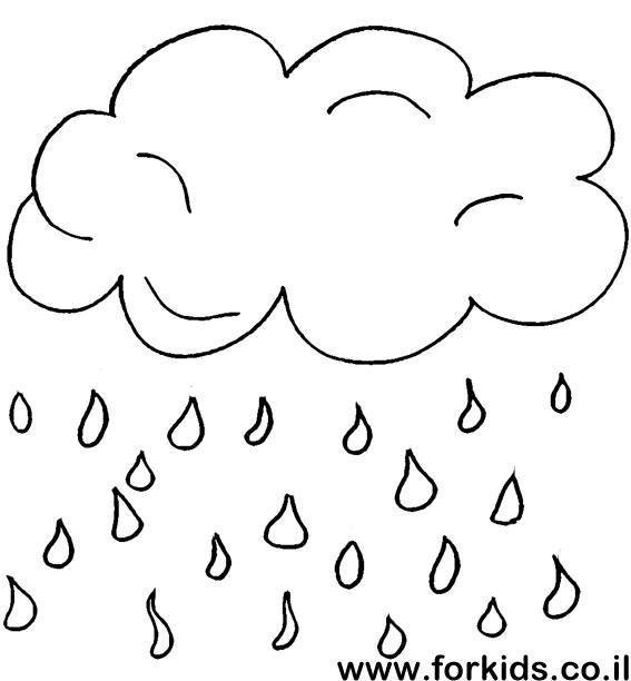 картинка раскраска тучка и дождик сковороду