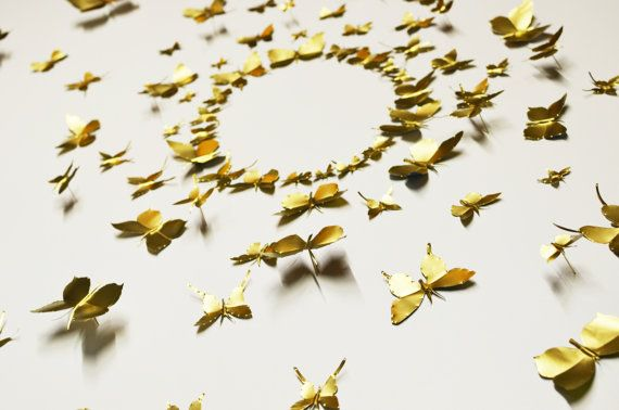 Metal Wall Art Decor, Mural / Collage Kit, Recycled Aluminum Can,  Decorative Pins   Gold Butterfly (Large Kit, 100 Pieces)