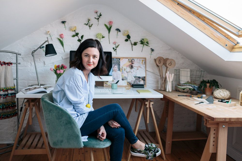 """""""The flower wall in my studio took all of 20 minutes and a maximum of €20, spent on fake flowers and white tack, to create. It brightens up my days no end.""""  #flowerwall #workspace #homeoffice #officedecor #creativedecorating #housetour #loftspace #loftoffice 📷 Doreen Kilfeather"""