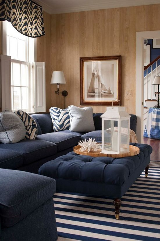 blue stripe rug and blue sofa with footstool as coffee table rh pinterest com