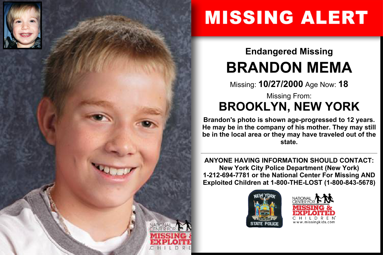 BRANDON MEMA, Age Now: 18, Missing: 10/27/2000  Missing From