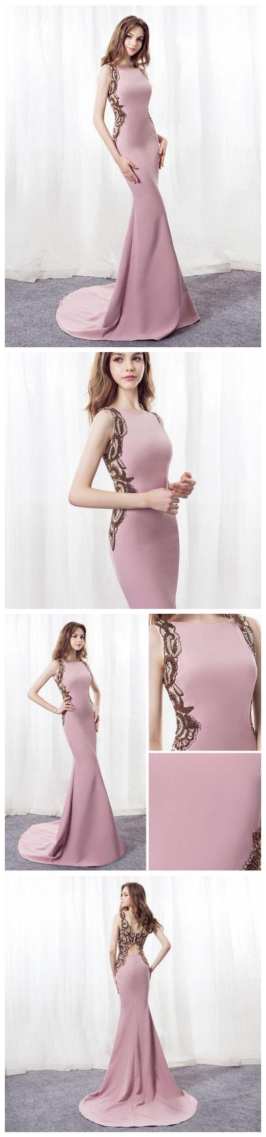Mermaid prom dresses pink sweepbrush train bateau long prom dress