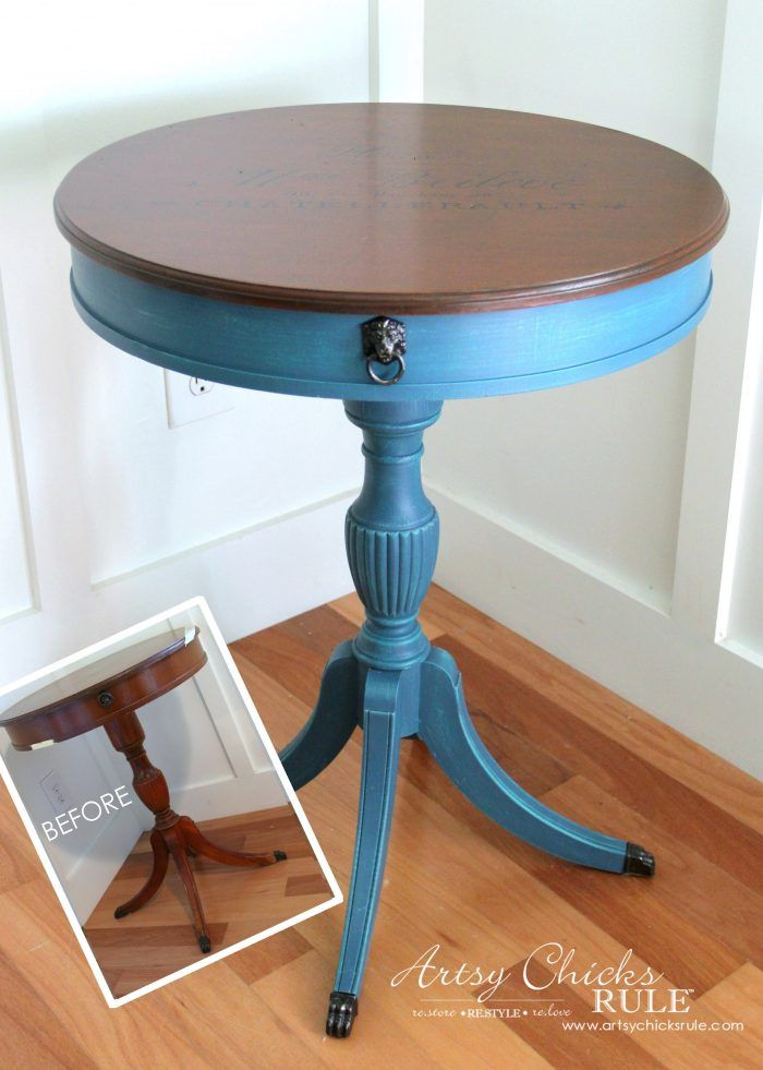 French Round Side Table Makeover - Gorgeous Aubusson Blue with Florence and Provence over top!
