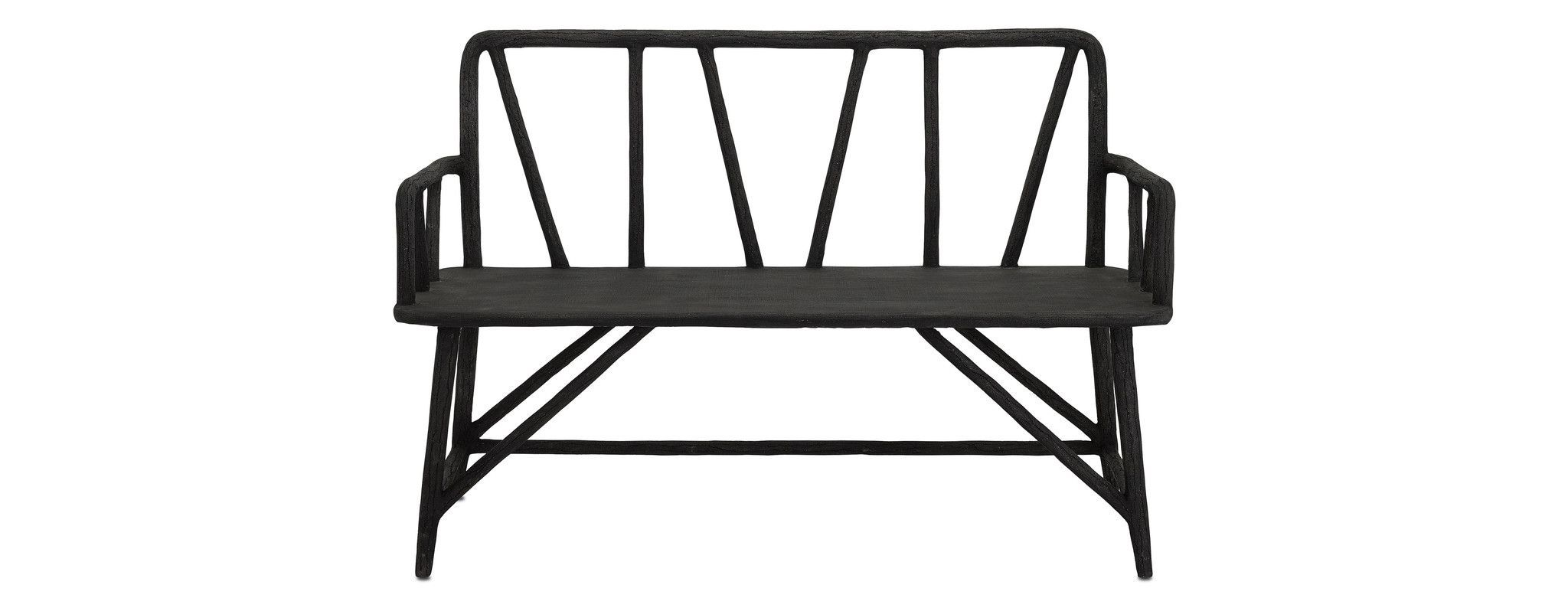 Excellent Arboria Bench In Distressed Black Design By Currey Company Bralicious Painted Fabric Chair Ideas Braliciousco