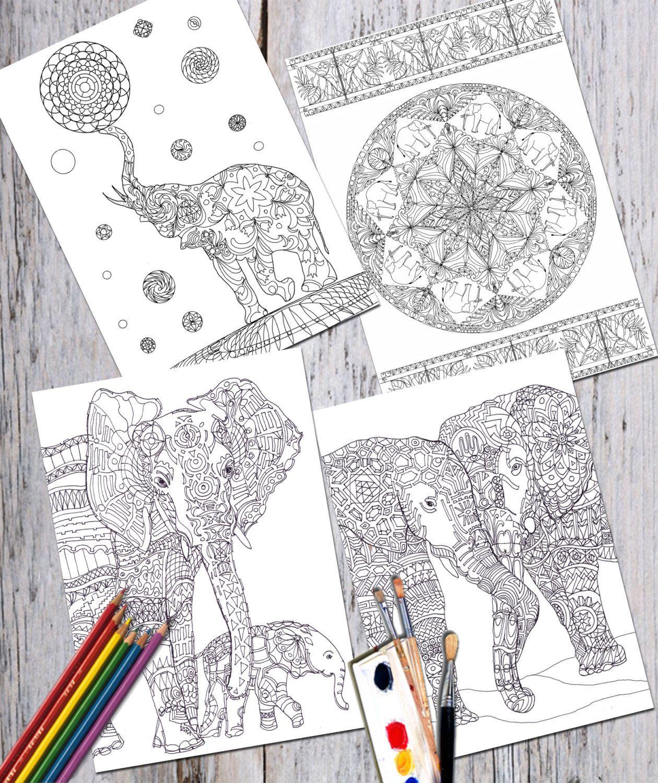 Digital Coloring Book 18 Pages Safari Animals, Printable, Adult ...