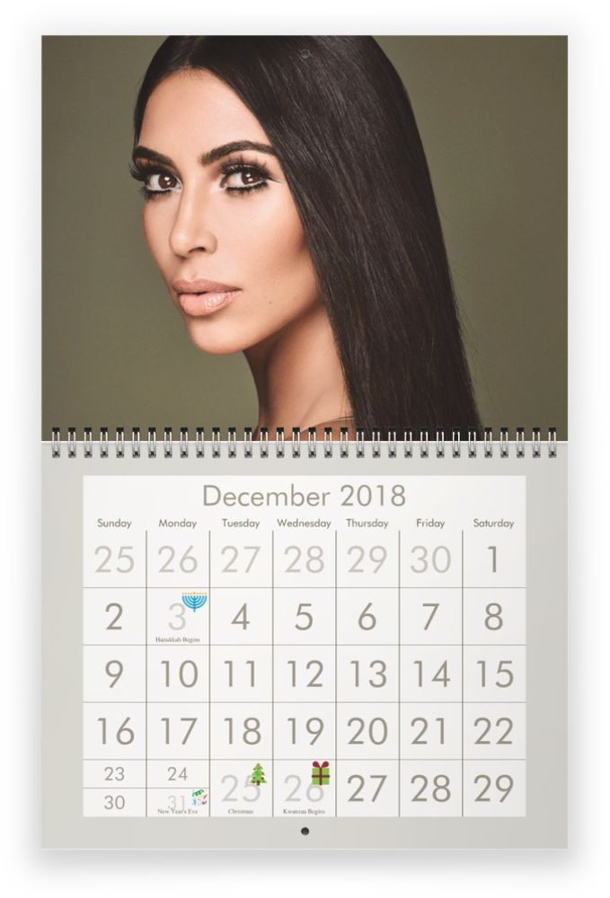 kim kardashian 2018 wall calendar lowest price calendar on kim wall id=57078