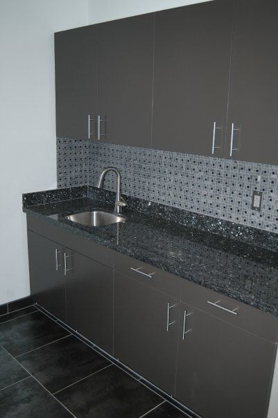 commercial job breakroom counter with stone mosaic splash some rh pinterest at