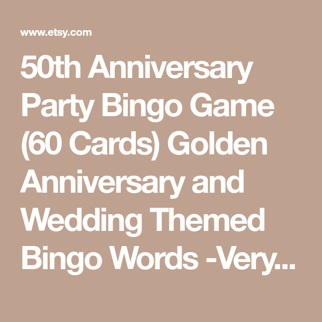 50th Anniversary Party Bingo Game 60 Cards Golden And Wedding Themed Words Very Fun Print Play