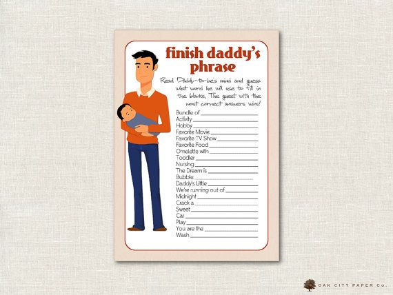 Finish Daddys Phrase Game Daddy Baby Shower Game Dad Baby Shower