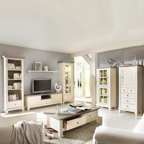 Wohnzimmermöbel Set in Weiß (7-teilig) - Gemütliche Landhausmöbel - wohnzimmermöbel weiß landhaus