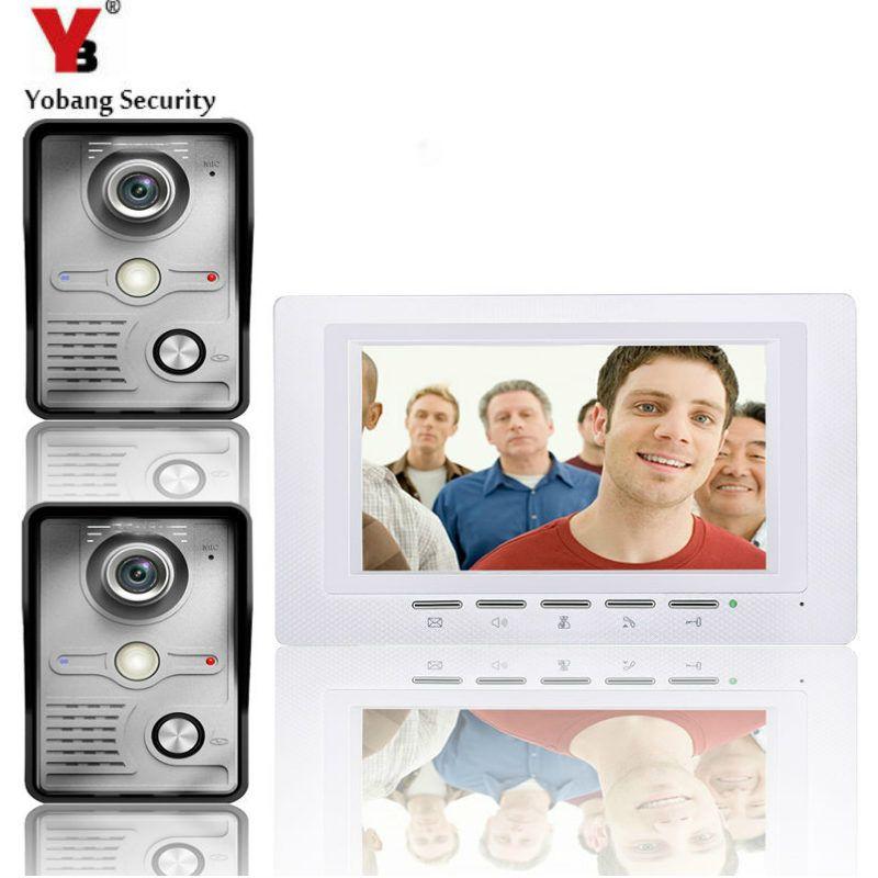 Yobangsecurity 7 Inch Wire Video Door Phone Entry System Home Security Camer Home Security Camera Systems Security Cameras For Home Doorbell Intercom