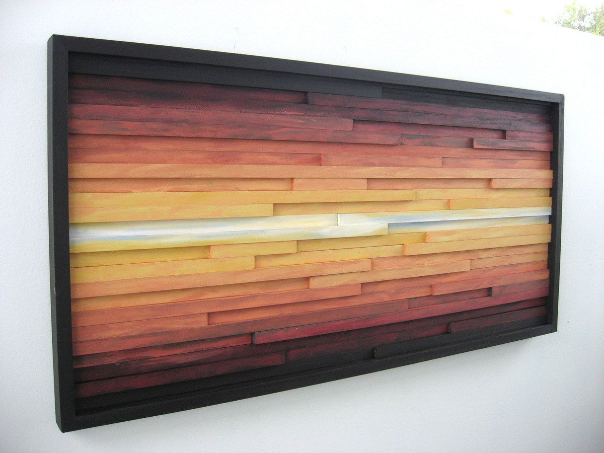 Abstract landscape painting on wood wood wall art wood sculpture
