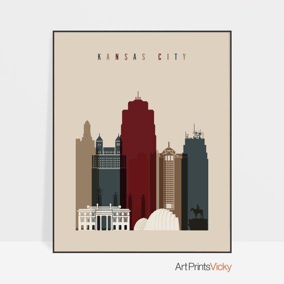 , Kansas City print, Poster Wall art Kansas cityscape Kansas City skyline City poster Typography art Home Decor Digital Print ArtPrintsVicky, MySummer Combin Blog, MySummer Combin Blog