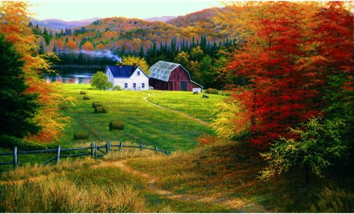 Golden countryside mural decorations pinterest for Countryside wallpaper for walls