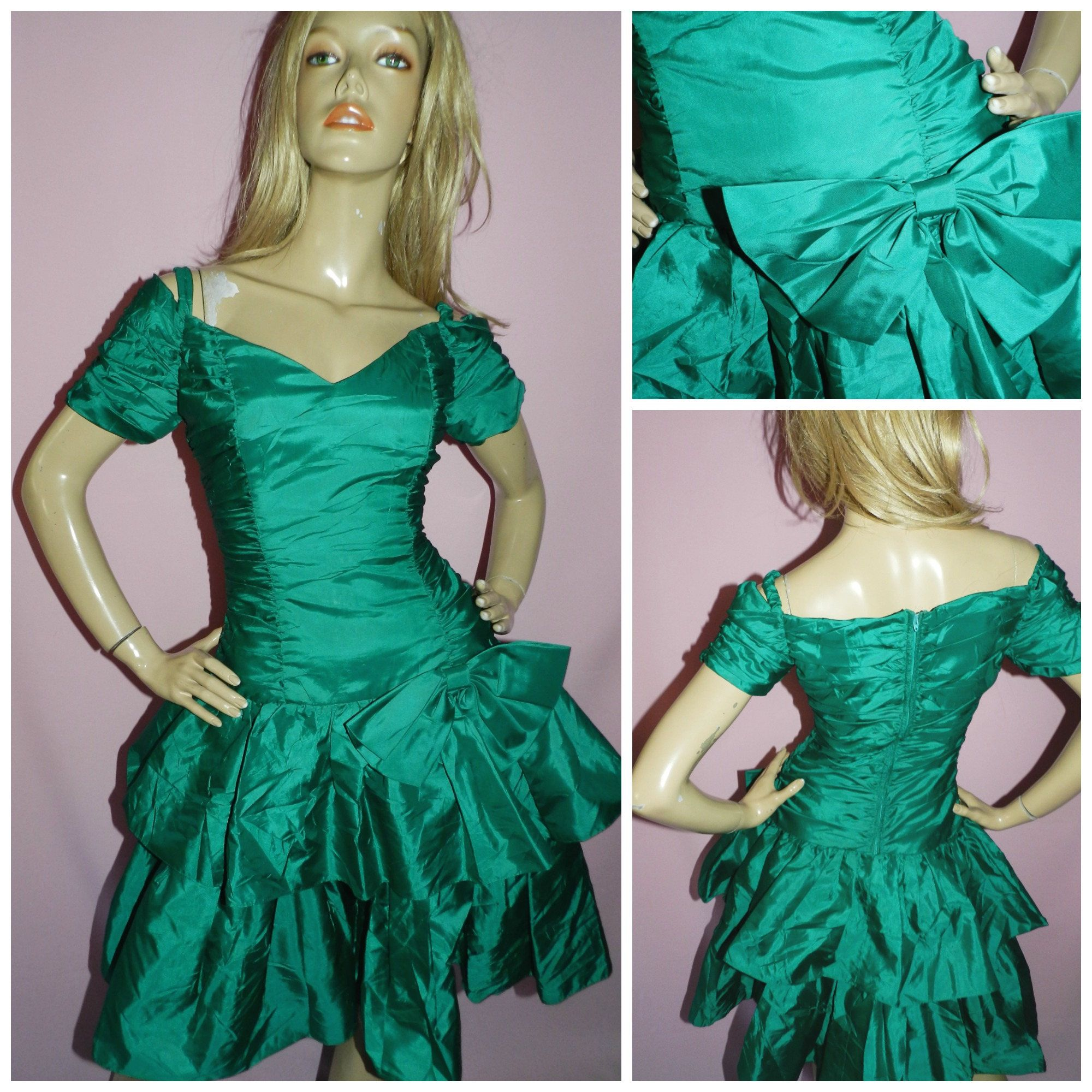Vintage 80s Emerald green BOW Front RARA Prom Party dress 8-10UK 4 ...