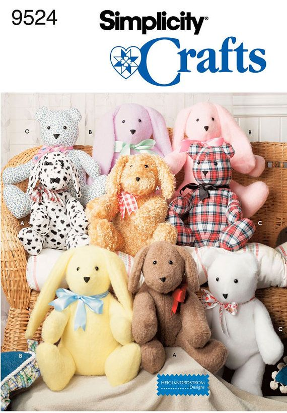 Simplicity Sewing Pattern 9524 2 pattern-piece Stuffed Animals Dog ...