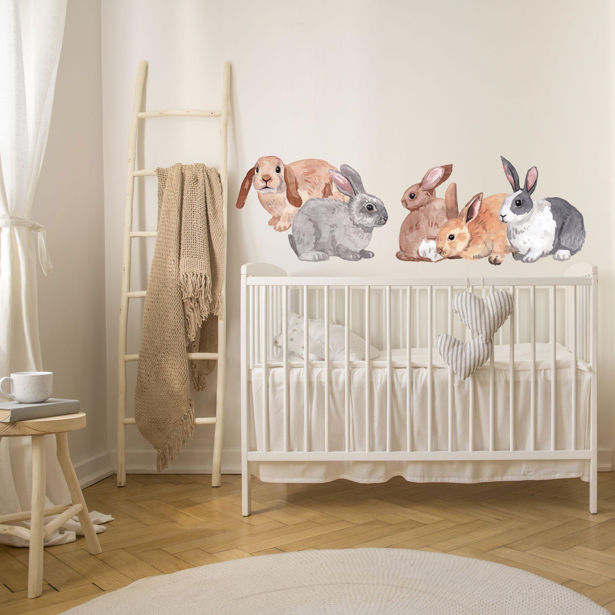 Cute Bunny Nursery Wall Decals, Set of 5 Bunnies, Made