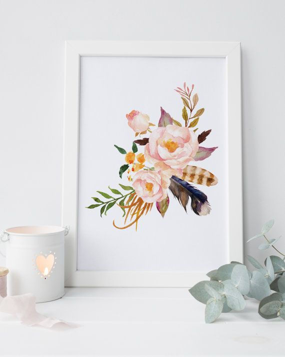 Shabby Chic Wall Decor Floral Nursery Print Watercolor Flower