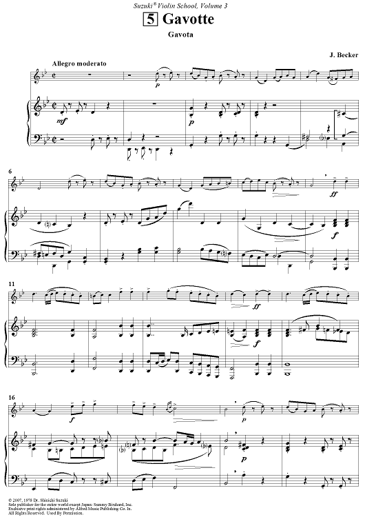 Gavotte Sheet Music by J. Becker | Sheet music