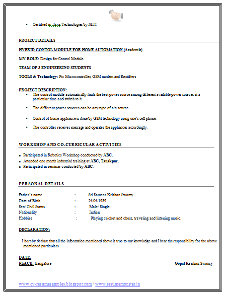 free resume sample of fresher engineer 2 - Resume Format For Freshers Engineers
