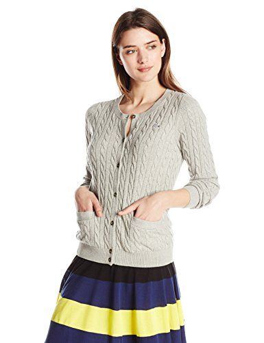 #sweater Lacoste Women's Long Sleeve Cotton Cable Knit Cardigan Sweater, Silver/Grey Chine, 42 Lacoste http://www.amazon.com/dp/B01938AXXS/ref=cm_sw_r_pi_dp_ANmXwb11KHGQN