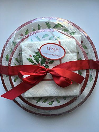 Lenox Holly Disposable Paper Plates and Napkins Gift Set ~ 56 Pieces ~ Service for 8 & Lenox Holly Disposable Paper Plates and Napkins Gift Set ~ 56 Pieces ...
