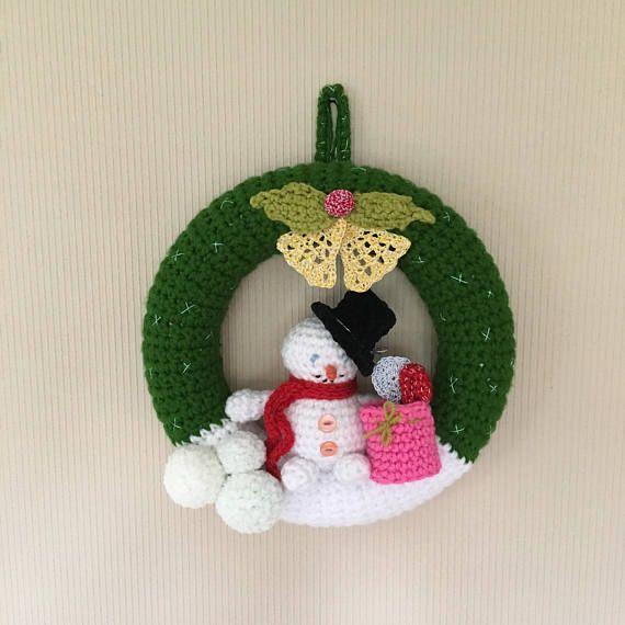 Photo of Wreaths Crochet wreath Door hanging Christmas wreath Advent wreath Crochet door hanging Christmas decs Snowman