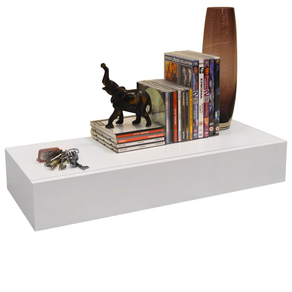 hidden 2ft 60cm floating storage shelf with drawer white rh pinterest com