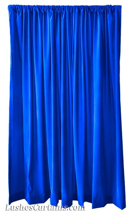 High Ceiling Royal Blue Flocked Velvet 12 Ft Long Curtain Panel