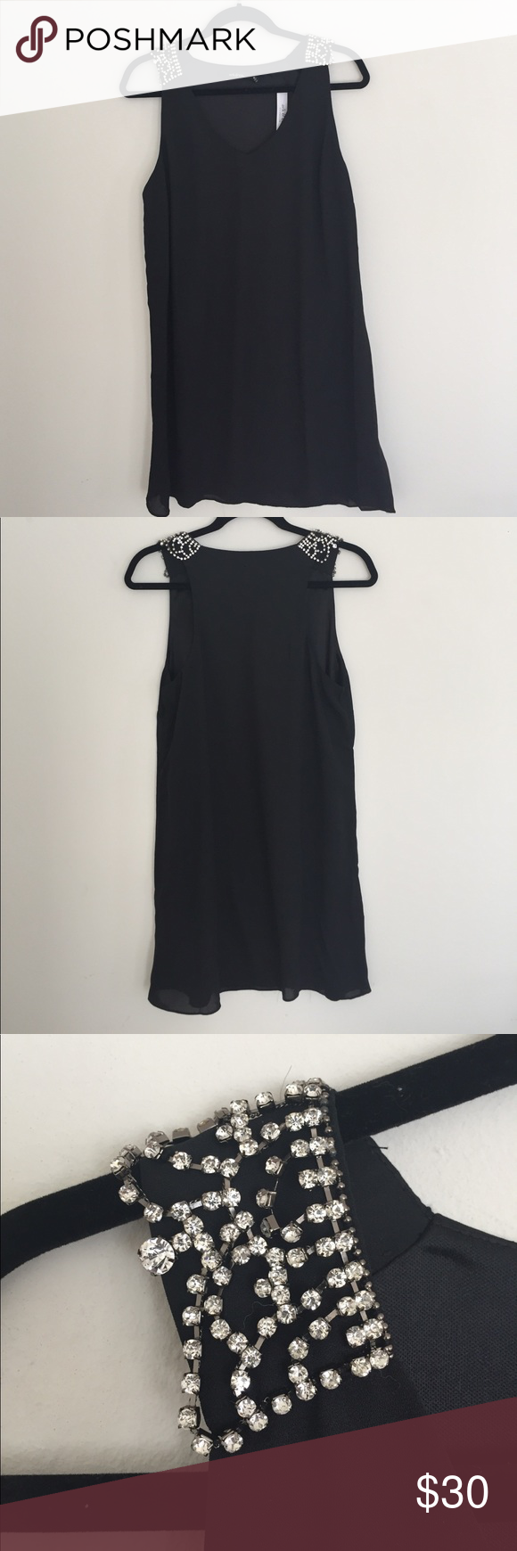 Black polyester short dress with rhinestones perfect condition