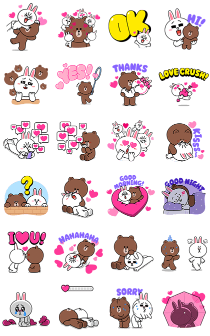 Brown & Cony's HeartThrobbing Love — Sticker for LINE