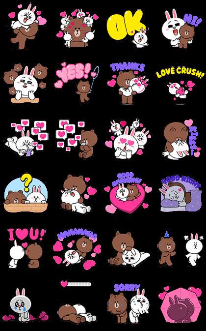 Brown Cony S Heart Throbbing Love Sticker For Line Whatsapp