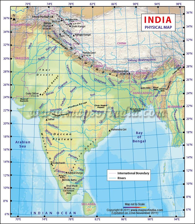 Physical Map of India Maps Geography Pinterest India India