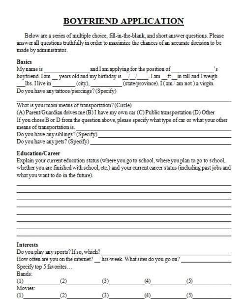 Boyfriend Application Boyfriend Application Friend