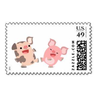 Dancing piggies postage stamps