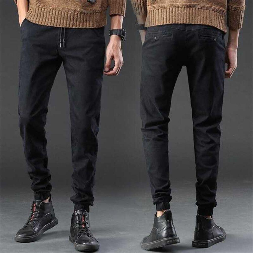 Black stretch jogger jeans elastic waist for men black