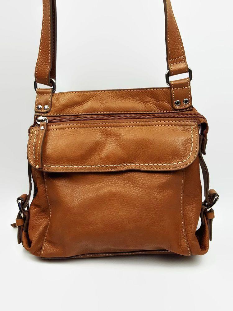 742653b063 Fossil handbag saddle brown leather crossbody bag organizer on back of purse  #Fossil #Bucket