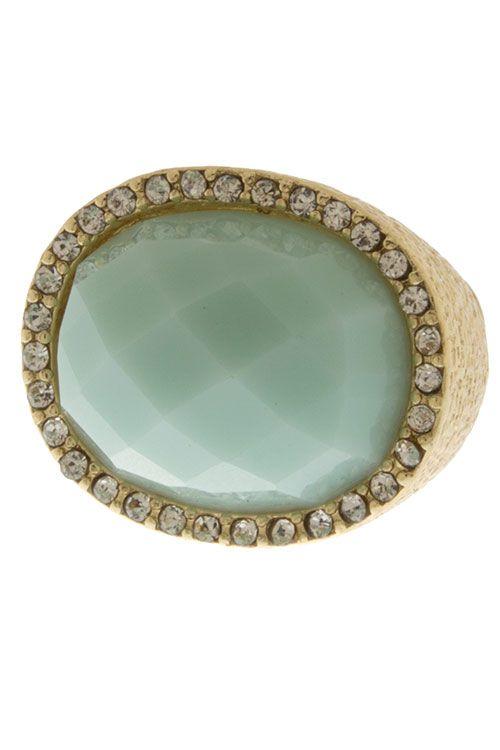 GODDESS RHINESTONE ENCRUSTED COLOR JEWEL COCKTAIL RING -Mint