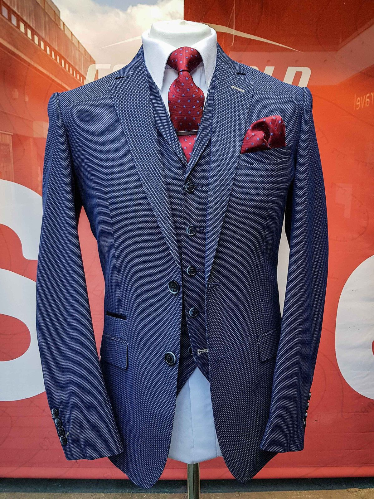 Mens blue birds eye piece formal suit wedding parties business
