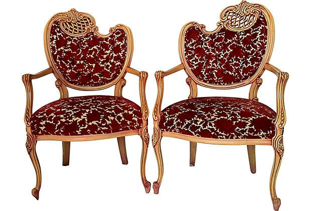 French Tufted Baroque Arm Chairs, Pair. $1,299.00, via Etsy.
